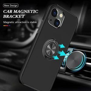 For iPhone 13 Black Magnetic Ring Case