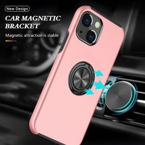 For iPhone 13 Pink Magnetic Ring Case