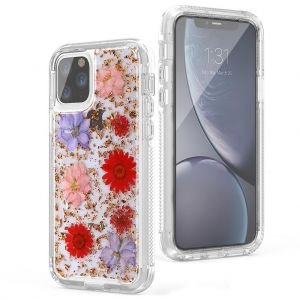 For iPhone 11 Pro Max BeeTUFF Flowers Rose Gold