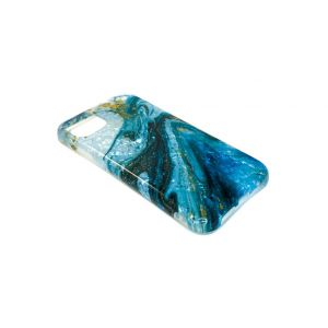 For iPhone XR Blue Pearl Marble Gel